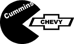 Cummins, Eatting a Chevy logo, Vinyl decal sticker