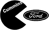 Cummins, Eatting a Ford logo, Vinyl decal sticker