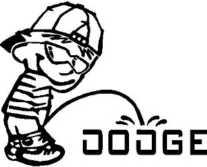 Cool Calvin peeing on the Dodge logo, Vinyl decal sticker