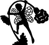 Fairy holding down a flower, Vinyl cut decal