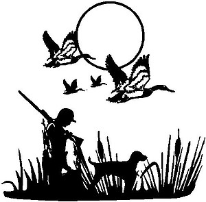 Duck hunter and his Lab, with flying ducks overhead, Vinyl cut decal