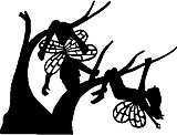Fairies playing on a tree, Vinyl cut decal