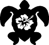 Sea Turtle with hibicus flower, Vinyl cut decal