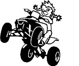 Girl Calvin riding a Quad, Vinyl cut decal