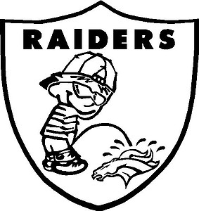 Raiders Shield with calvin peeing on Broncos, Vinyl decal Sticker