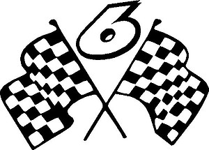 Mark Martin 6 with checker flags, Vinyl decal sticker