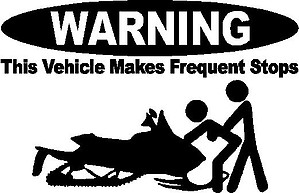 WARNING, This vehicle makes frequent stops, Snowmobile, Vinyl cut decal