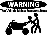 WARNING, This vehicle makes frequent stops, Quad, Vinyl cut decal