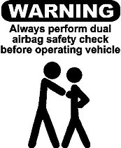 WARNING, Always perform dual airbag safety check before operating vehicle, Vinyl cut decal