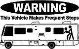 WARNING, This vehicle makes frequent stops, RV, Vinyl cut decal