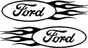 Ford logo with Flames,set of two, Vinyl cut decal