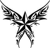 Nautical Star with wings, Vinyl decal sticker