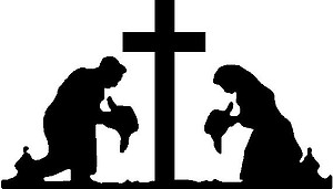 Cowboy and Cowgirl Praying at cross, Vinyl Cut Decal