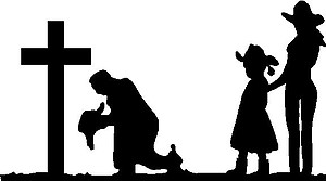 Cowboy,Cowgirl and Doughter Praying at cross, Vinyl Cut Decal