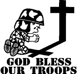 God Bless Our Troops, Military Calvin praying at the Cross. Vinyl cut decal