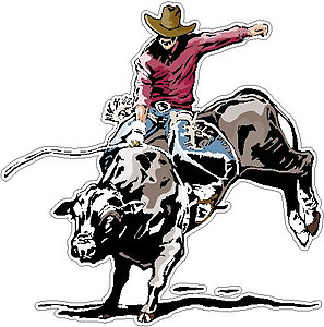 Cowboy riding Cow, Full color decal