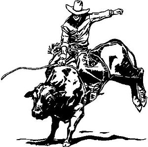 Cowboy riding a Cow, Vinyl decal