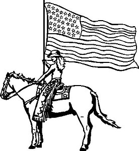 Cowgirl holding an American Flag while riding a horse, Vinyl Cut Decal