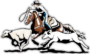 Cowboy Ropping a Calf, Full color decal