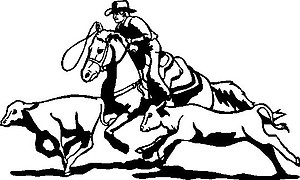 Cowboy Ropping a Calf, Vinyl cut decal