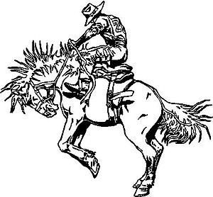 Cowboy riding a bucking horse, Vinyl cut decal