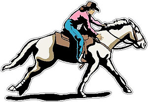 Cowgirl racing on a horse, full color decal