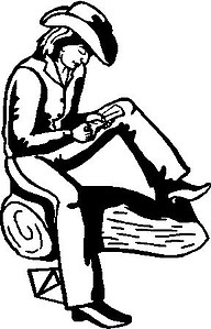 Cowgirl reading a letter, Vinyl Cut decal