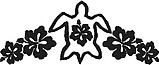 Turtle and Hibiscus flowers, Vinyl cut decal