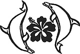 Two dolphins swimming around a Hibiscus flower, Vinyl cut decal