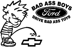 Calvin peeing on Chevy w/ford logo