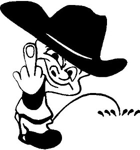 Cowboy Calvin flipping you off and peeing, Vinyl cut decal