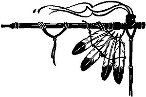 Peace pipe with eagle feathers, Vinyl cut decal