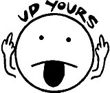 Up Yours, Smile face with his tongue sticking out, Vinyl cut decal