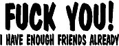 F*** You, I have enough friends already, Vinyl cut decal