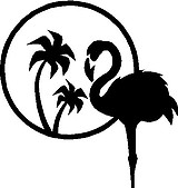 Pink Flamingo, with two Palm trees, Vinyl cut decal
