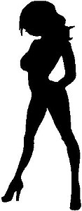 Hot woman standing, Vinyl cut decal