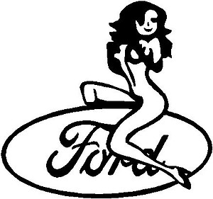 Girl sitting on a Ford Logo, Vinyl cut decal