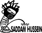 Calvin wearing a gas mask peeing on Saddam Hussen, Vinyl cut decal