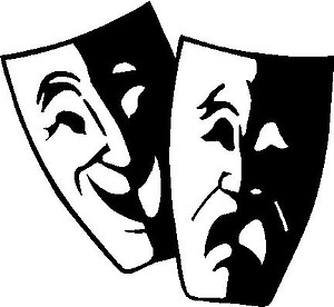 Theater Faces, Happy, Sad, Vinyl cut decal