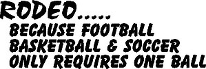 Rodeo... Because Football, Basketball and Soccer only requires one ball, Vinyl cut decal