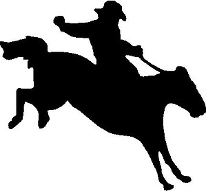 Cowboy breaking a wild horse, Vinyl cut decal