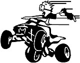 Calvin flying off a quad, Vinyl cut decal