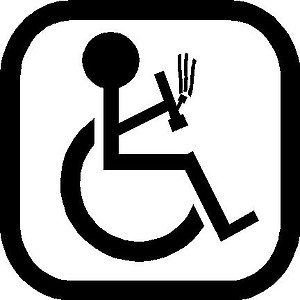 Handicap Sign, Guy with Bong, Vinyl cut decal