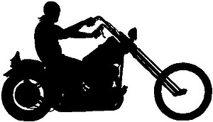 Biker Guy Riding a Motorcyle, Vinyl cut decal