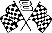Dale Earnhadt Jr, 8 with checker flags, Vinyl cut decal