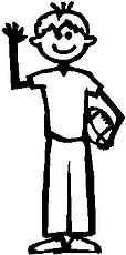 Boy, 5.3 inch Tall, Football, Stick people, vinyl decal sticker
