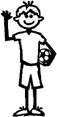 Boy, 5.3 inch Tall, Soccer, Stick people, vinyl decal sticker