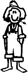 Guy, Hillbilly, 5.2 inch Tall,  Stick people, vinyl decal sticker