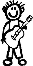 Guy, 5.1 inch Tall, Guitar, Stick people, vinyl decal sticker