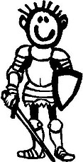 Guy, 5.5 inch Tall, Knight, Stick people, vinyl decal sticker